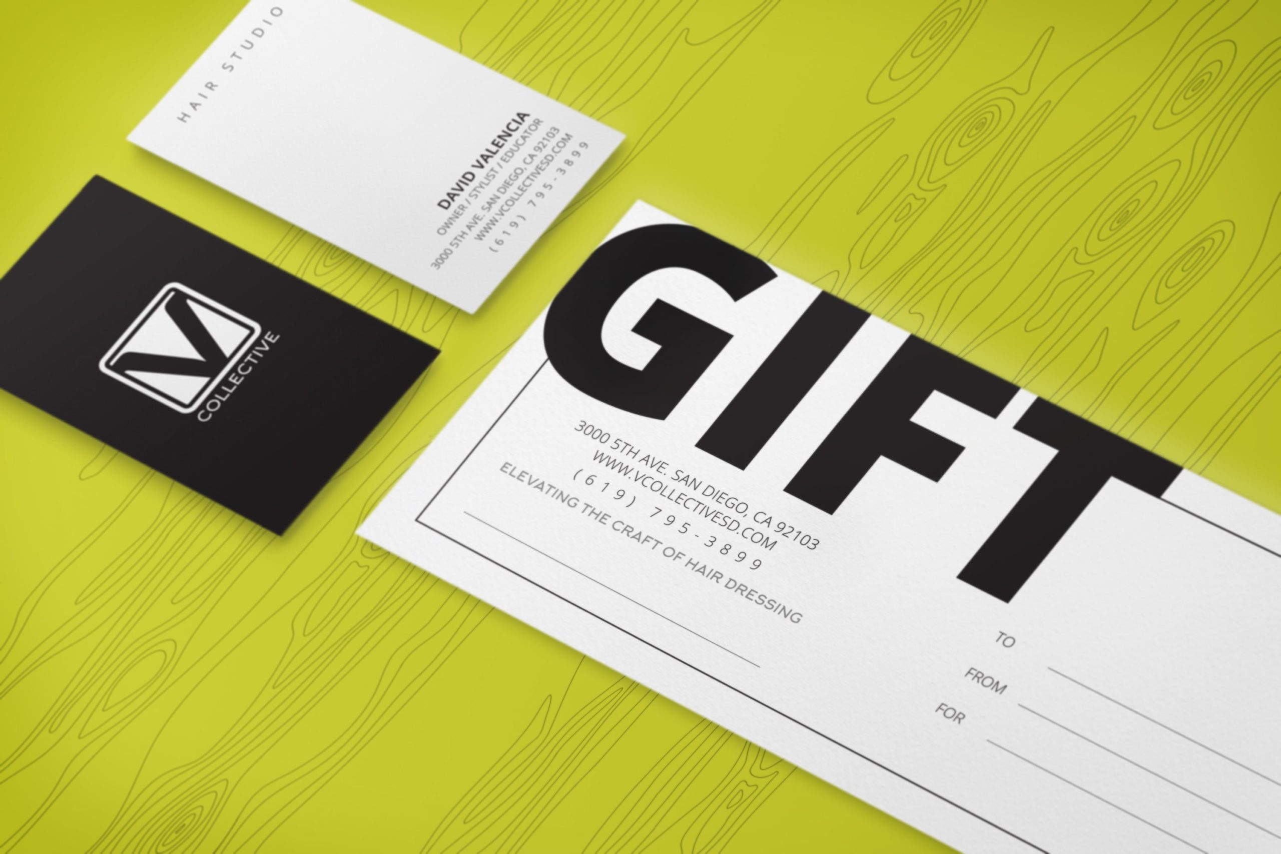 V Collective San Diego Print Design: Gift Cards and Business Card Design