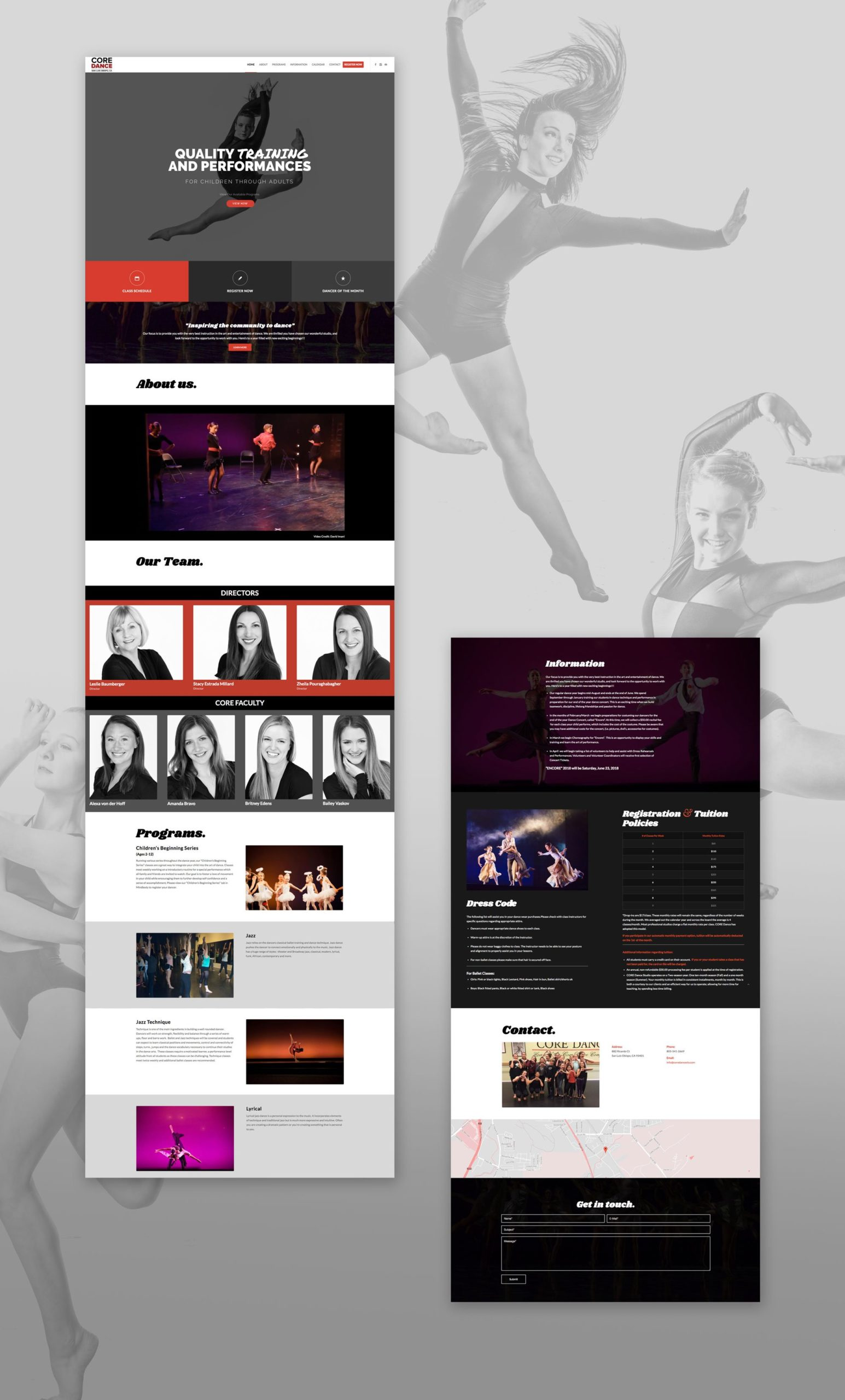 CORE Dance San Luis Obispo Web Design
